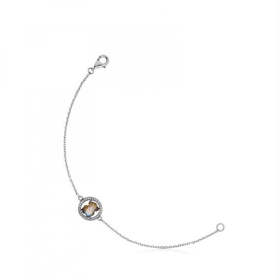 オキシダイズドシルバーにラブラドライトとダイヤモンドが付いたブレスレット Camille(712161690)