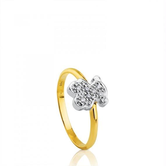 ダイヤモンドが付いたホワイトゴールドとイエローゴールドの TOUS Bear(215915010)