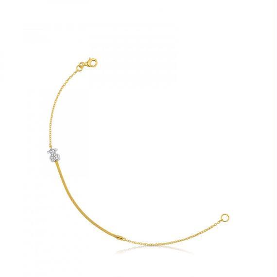 ダイヤモンド付きゴールド・アイコン・Meshブレスレット(613101020)