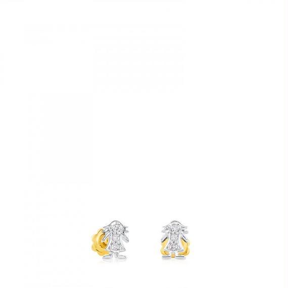 ゴールドとダイヤモンドのピアス Puppies(615260510)