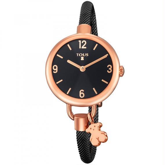 ステンレス IP ブラックのバンドが付いたステンレス IP ピンクの腕時計 Hold(700350225)