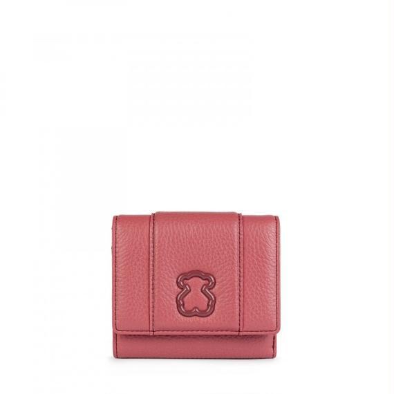 ピンクのレザー製小型ウォレット Alfa