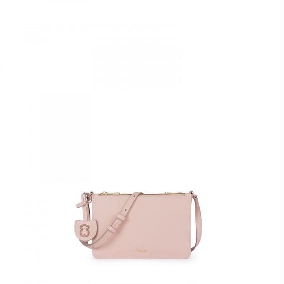 ピンクのレザー製ショルダーバッグ Odalis(895890134)