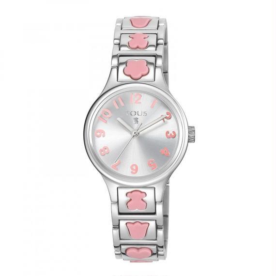 ピンクのシリコン製モチーフが付いたステンレス腕時計 Dolls(300350550)