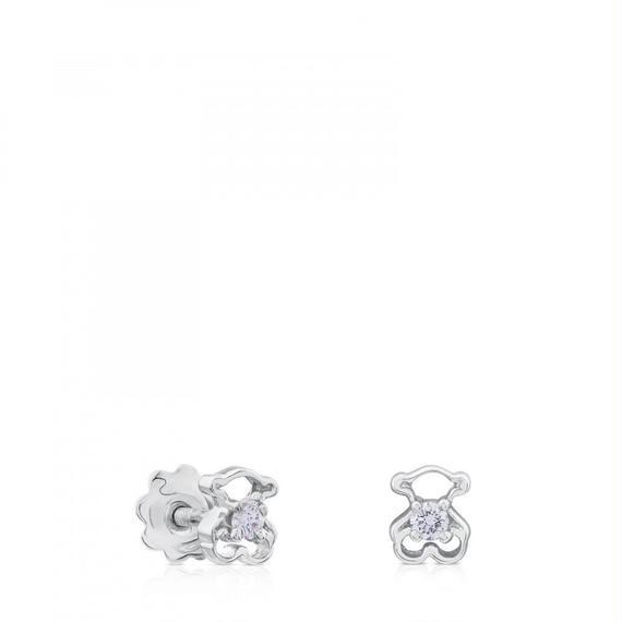 ダイヤモンド付きホワイト・ゴールドSiluetaピアス(612563000)