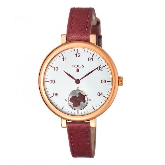 ワインレッドの革バンドが付いたピンクのステンレス IP 腕時計 Spin(600350440)