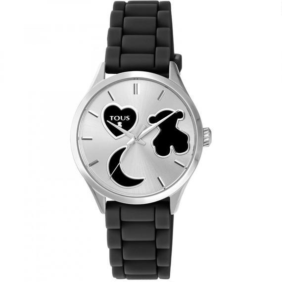 黒いシリコンバンドが付いたステンレス腕時計 Sweet Power (800350740)