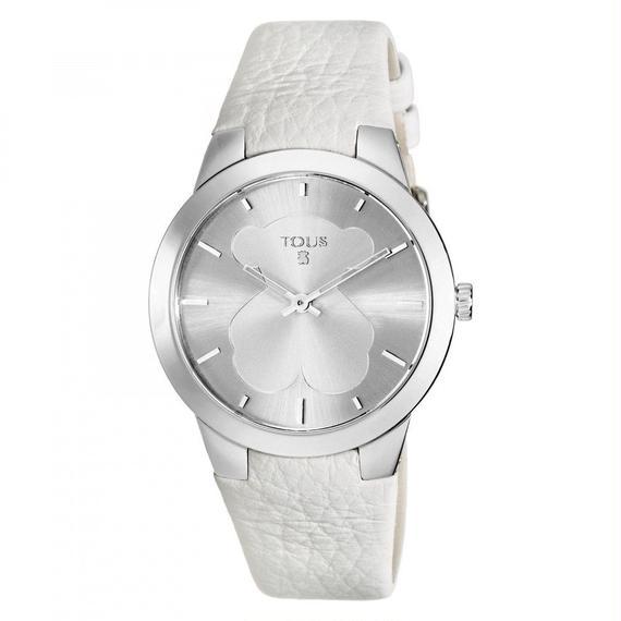 アイボリーの革バンドが付いたステンレス腕時計 B-face(400350115)