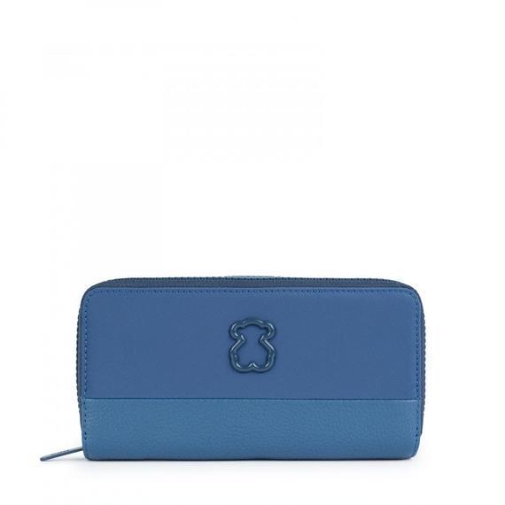 ブルーのナイロン製中型ウォレット Laina