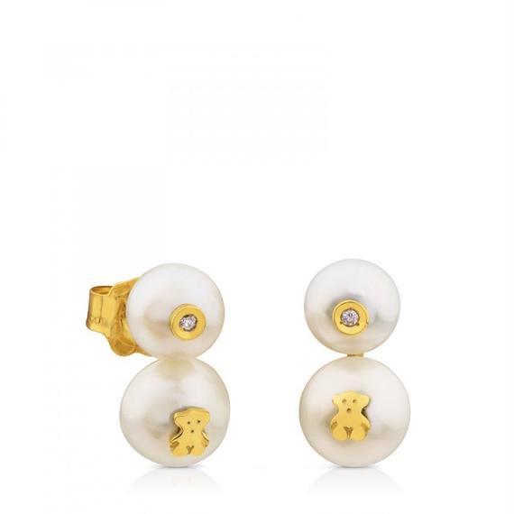 ゴールドにパールとダイヤモンドが付いたピアス Icon Pearl(612573030)
