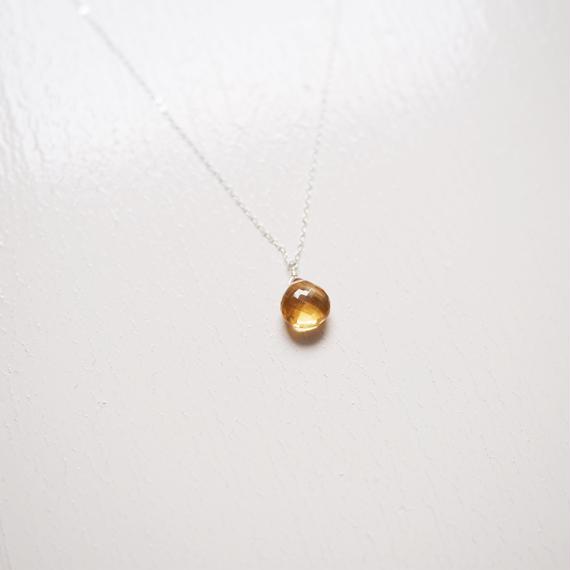 【再入荷】Autumn 3 /宝石質ビアクオーツのマロンブリオレットカット一粒ネックレス[SV925]