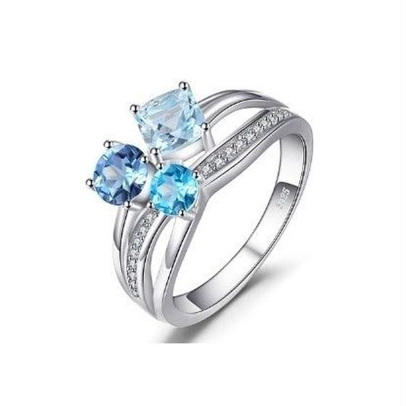 JewelryPalace ブルートパーズ 3ストーンリング