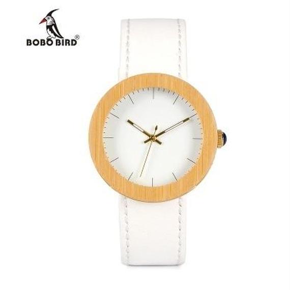 BOBO BIRD シンプル 竹製腕時計 クォーツ ホワイトカラー レディース 革バンド