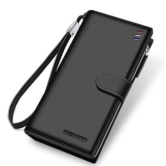 3カラー展開 BISON DENIM 高級ブランド メンズウォレット ジッパー 高品質本革 レザー財布