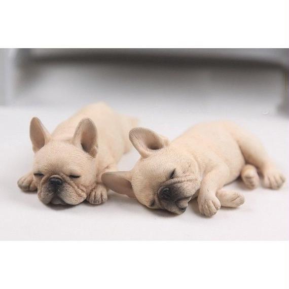 超リアル ミニチュア フレンチブルドッグ レジン 1/6 フレブル 癒し系 置物 小物 インテリア 犬 フィギュア 2コ 茶系