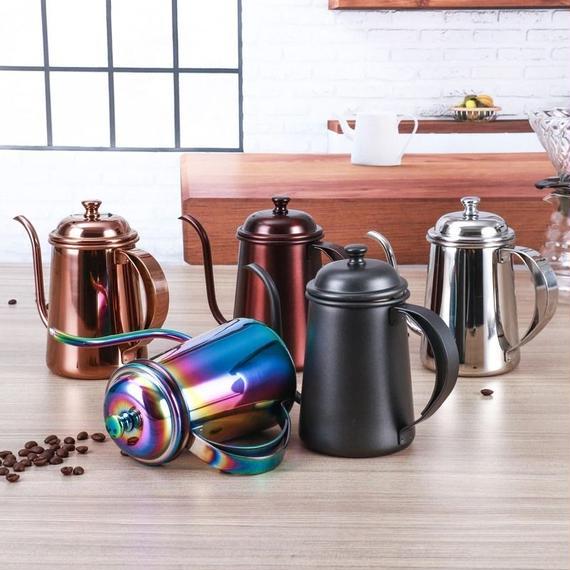 5カラー展開 ステンレス鋼 コーヒードリップケトル 泡立て コーヒーポット コーヒーツール 650ml