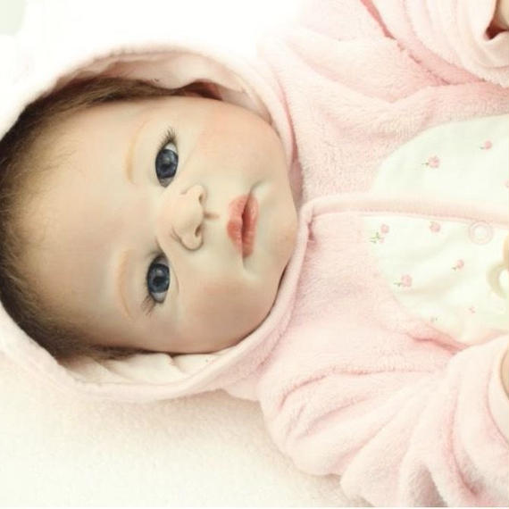 シリコン リボーンドール ベビー人形 ベビードール リアル赤ちゃん人形 抱き人形 お風呂可能♪ 高級海外ドール 約55cm ぱっちり新生児