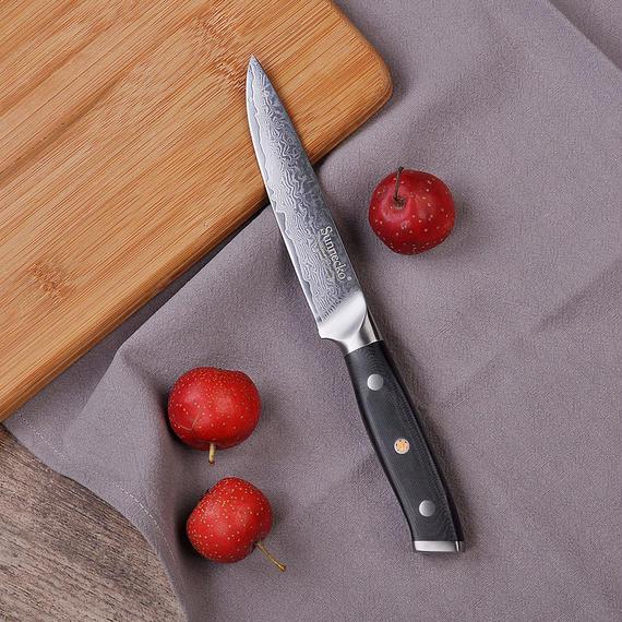 Sunnecko 5インチ ダマスカス ユーティリティナイフ 日本製VG10スチール シャープブレード 多目的キッチンナイフ G10