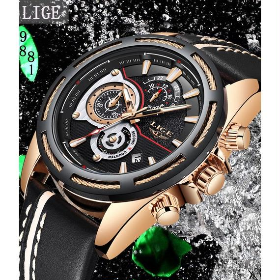 LIGE メンズウォッチ トップブランド ラグジュアリークォーツ メンズ カレンダーレザーストラップ 防水