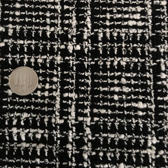 ツイード 黒×白 ブロック 約55×84cm