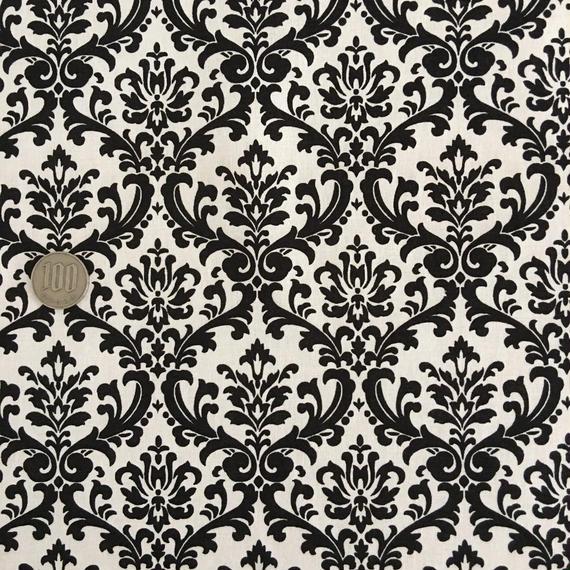 ダマスク ブラック×ホワイト 50cm