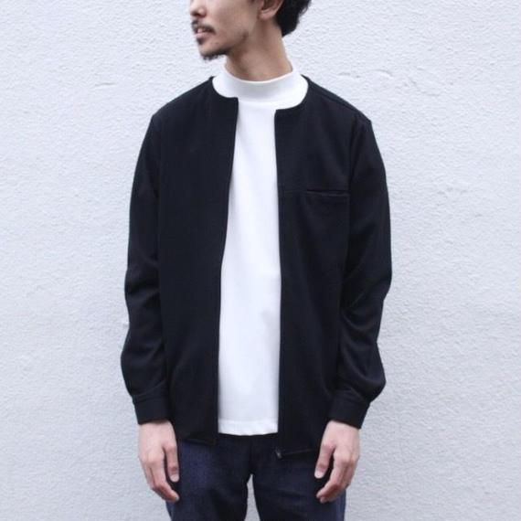 【roundabout】ノーカラージップシャツ  / ブラック