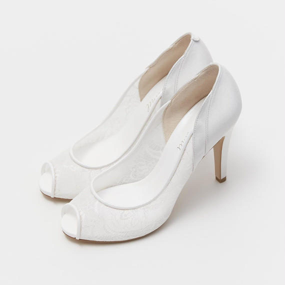 LACE COMBINATION OPENTOE PUMPS - IVORY