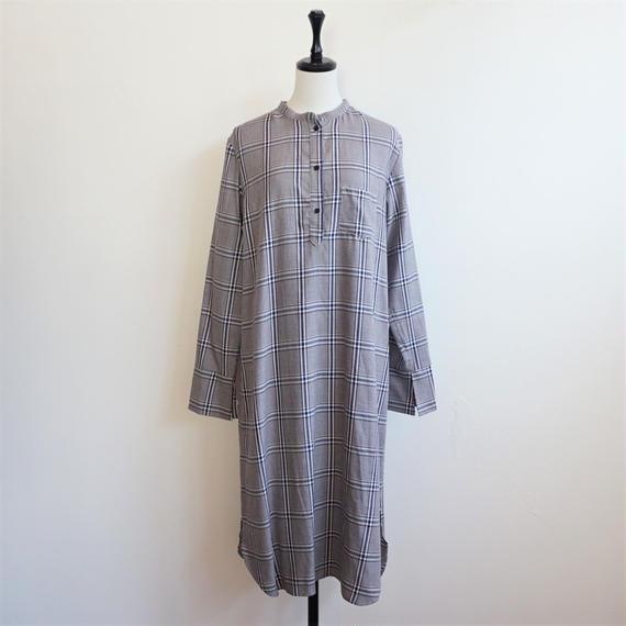 ノーカラーロングシャツ (CHECK)