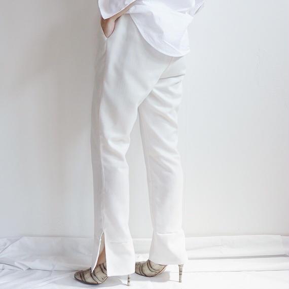 スリットロングパンツ/White