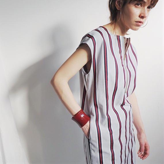 フロントジップワンピース/Stripe