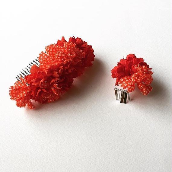 お花の櫛のセット / 赤と鹿の子