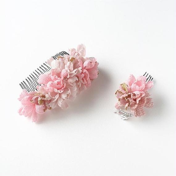 お花の櫛のセット / 桃花