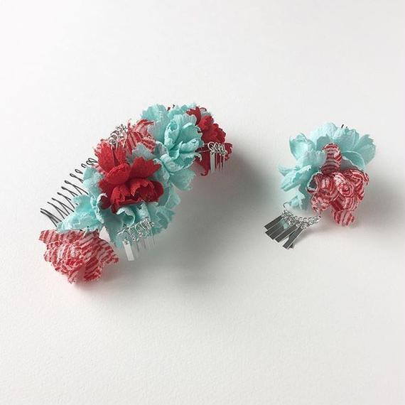 お花の櫛のセット 銀ビラ付き / 赤と水色