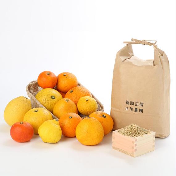【450-235】お楽しみ6kgセット(ハッピーヒルうるち玄米3kg×果物おまかせミックス3kg)