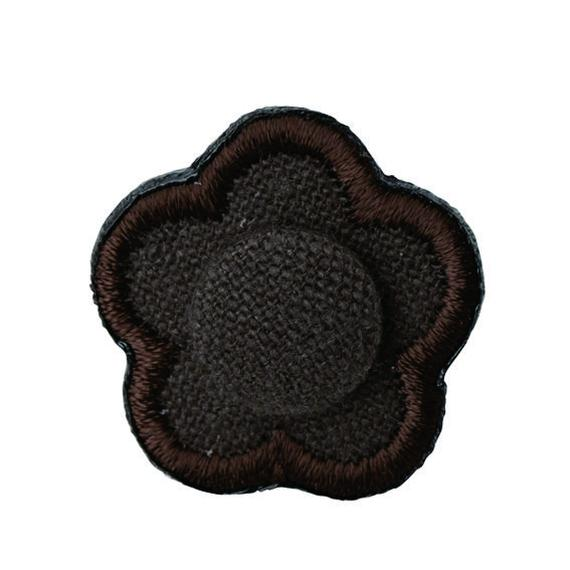 FT04080301 / EMBROIDERY BOUTONNIERE COTTON LINEN-  espresso coffee -