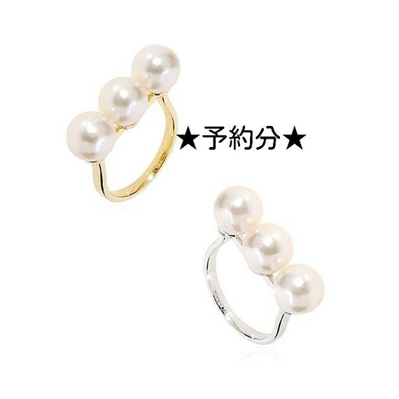 line pearl ring / gold.silver