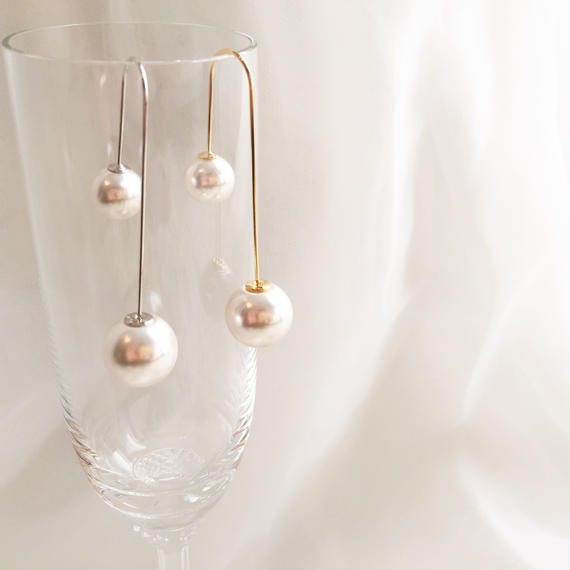 double pearl drop pierce / gold.silver