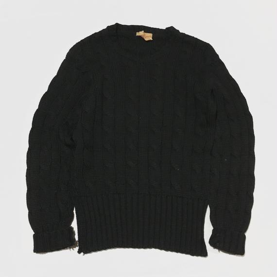 60s ビンテージ フィッシャーマン ニット セーター ブラック