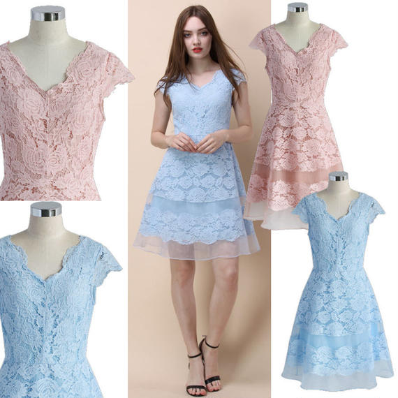 バックロマンティシズムレースドレス *2colors