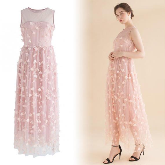 フローレセントノースリーブメッシュドレス