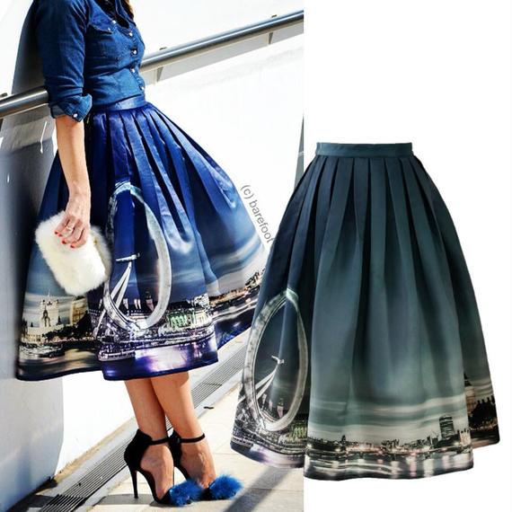 ナイトスカイラインオブロンドンプリントスカート