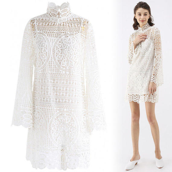 ムーンライトベルスリーブ鉤針編みドレス