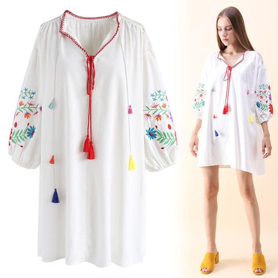 タッセルワイルドフラワー刺繍ドレス