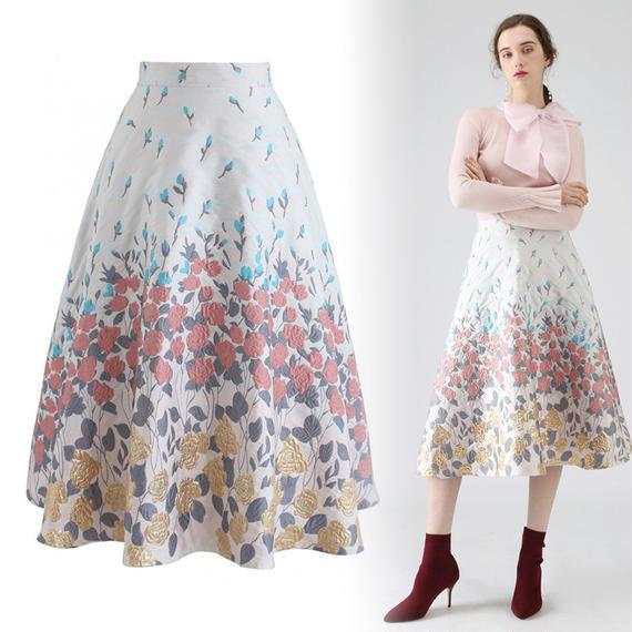 ジェミナートフラワーAラインスカート