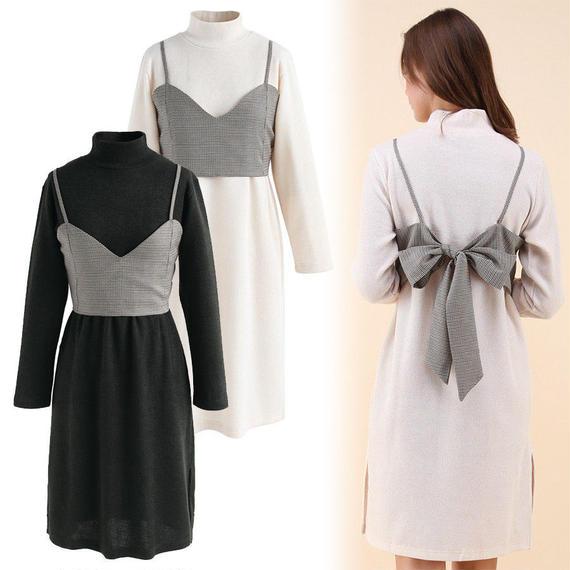 キャミトップ付きニットドレス