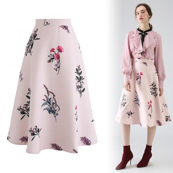 フローラルモチーフAラインスカート