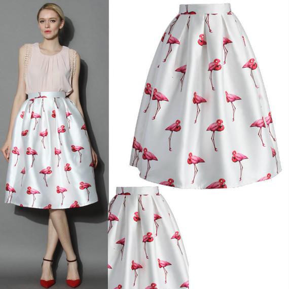 シックフラミンゴプリーツAラインスカート
