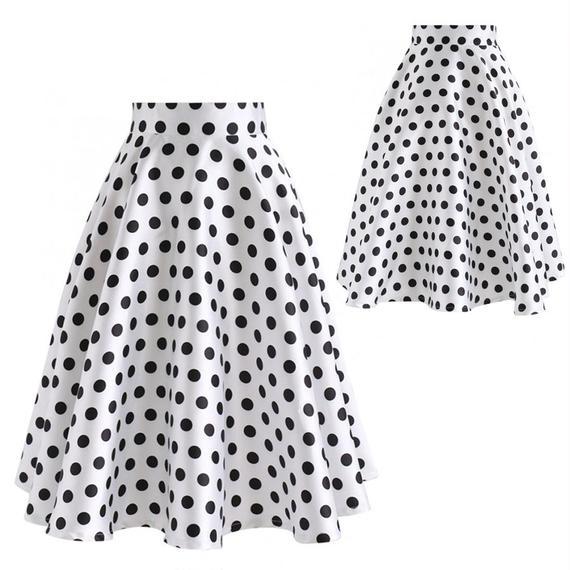 可愛いポルカドットスAラインスカート