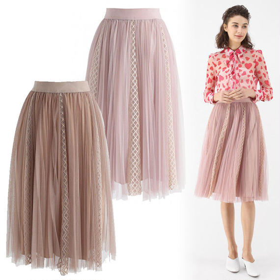 アミアブルレースチュールメッシュスカート