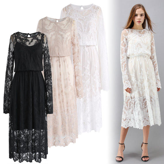 フラワー刺繍メッシュミディアムドレス